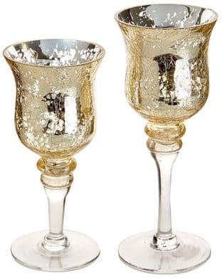 PREMIER G176034G  2 Gold Crackle Glass Candle Holders