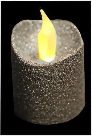 PREMIER LB101541S  Led Tea Lights,Glitter Covered,Silver,X4