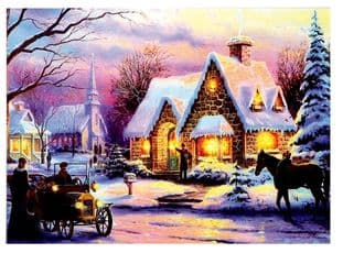 PREMIER LB151092  Led Snowy House Scene Canvas