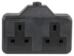 PRO ELEC 0139-BK  Socket Rubber 2 Gang 13A Black