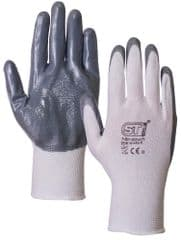 ST 26761  Glove Nitrile Coated Grey/White S