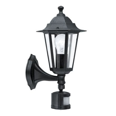 Eglo 22469 Laterna 4 Traditional Wall Light with Lower Arm and PIR - Black