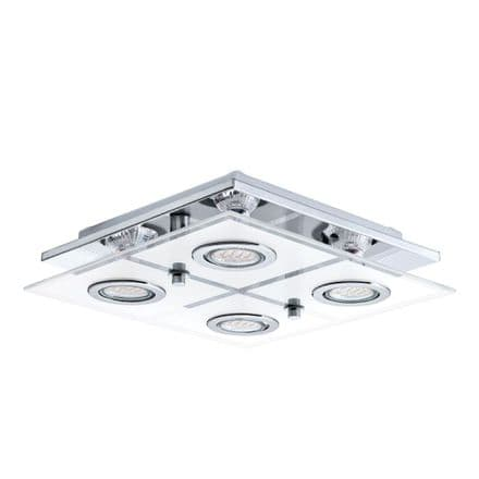 Eglo 30931 Cabo Stainless Steel & Glass LED Four Spot Ceiling Light