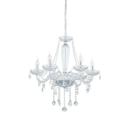 Eglo 39099 Basilano 1 Elegant 6 Candle Clear Glass Chandelier