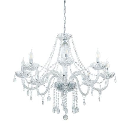Eglo 39101 Basilano 1 Elegant 8 Candle Clear Glass Chandelier
