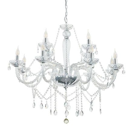 Eglo 39102 Basilano Elegant 12 Candle Clear Glass Chandelier