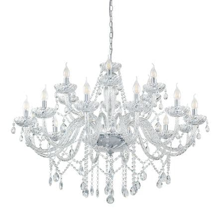 Eglo 39103 Basilano Elegant 18 Candle Clear Glass Chandelier