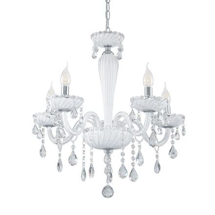 Eglo 39113 Carpento 5 Candle White Glass Chandelier