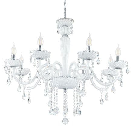 Eglo 39114 Carpento 8 Candle White Glass Chandelier