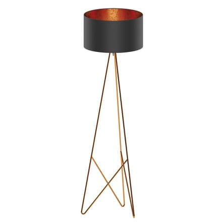 Eglo 39229 Camporale Copper Tripod Floor Lamp Black Copper Shade
