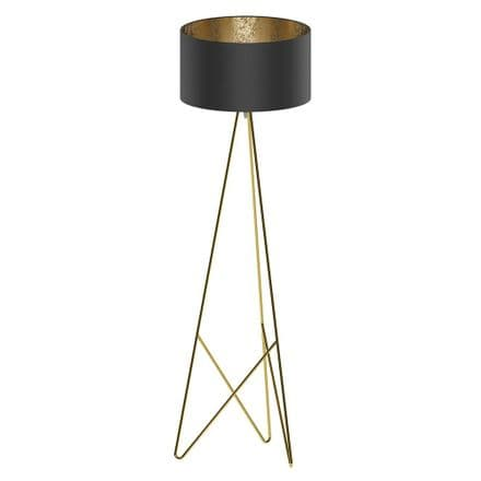 Eglo 39231 Camporale Brass Tripod Floor Lamp Black Gold Shade