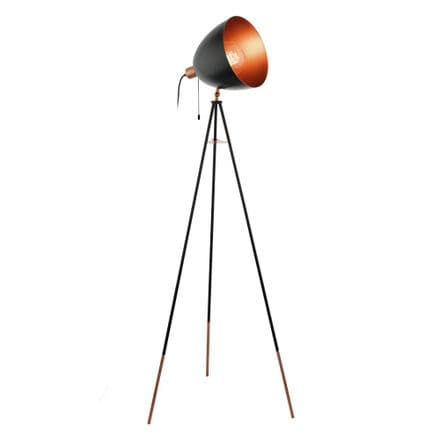 Eglo 49386 Chester Vintage Tri-pod Floor Lamp Black & Copper