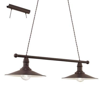 Eglo 49457 Stockbury Vintage Antique Brown Twin Pendant