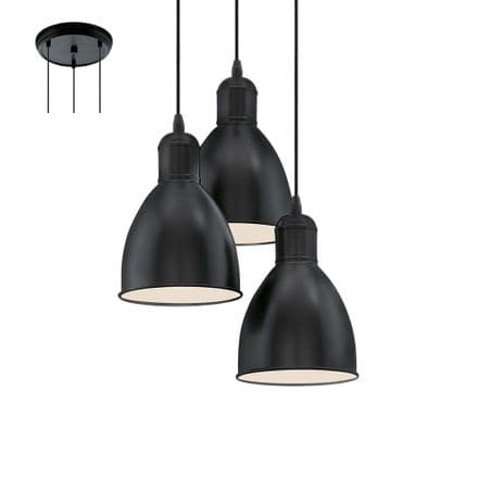 Eglo 49465 Priddy Vintage Steel Ceiling Triple Pendant Black