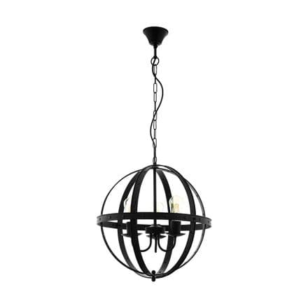 Eglo 49517 Barnaby Black Industrial Style 3 Lamp Ceiling Fitting