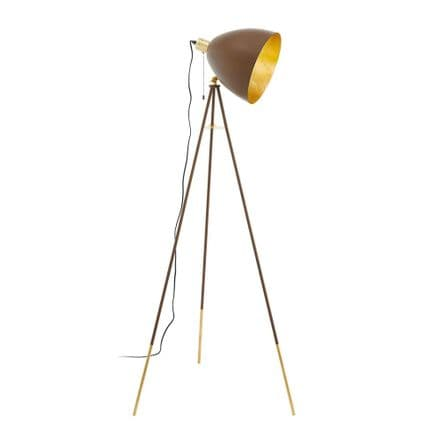 Eglo 49519 Chester 1 Vintage Tri-pod Floor Lamp Rust & Gold