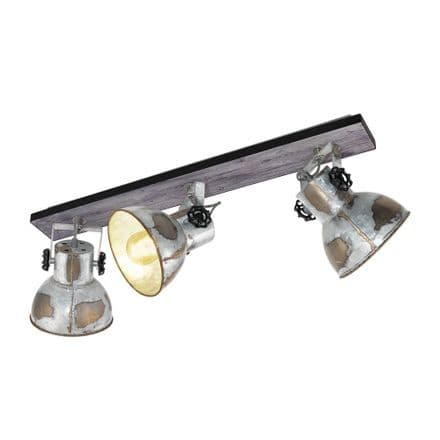 Eglo 49652 Barnstaple Aged Zinc Industrial Triple Wall/ Ceiling Fitting