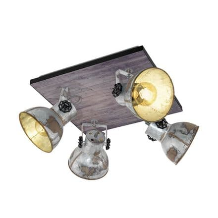 Eglo 49653 Barnstaple Aged Zinc Industrial Four Shade Wall/ Ceiling Fitting