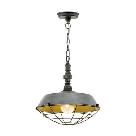 Eglo 49706 Chepstow Antique Silver Steel Shade Ceiling Fitting