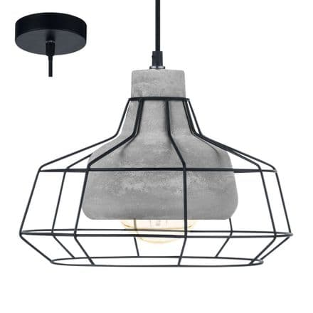 Eglo 49781 Consett Concrete and Black Cage Pendant Light
