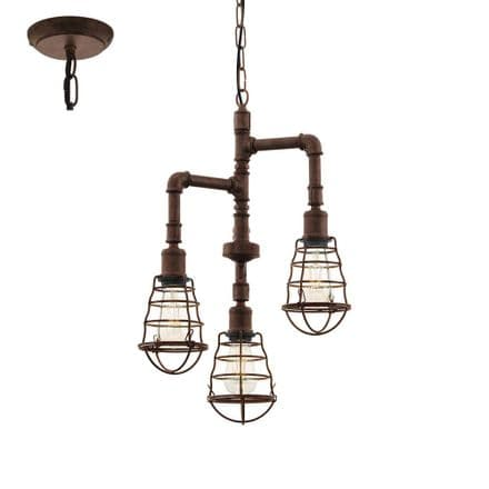 Eglo 49808 Port Seton Industrial 3 Brown Pipe Light Pendant