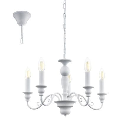 Eglo 49851 Caposile 5 Candle White Chandelier