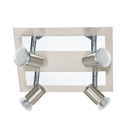 Eglo 90916 Rottelo Satin Nickel & Chrome Adjustable LED 4 Spot Square Light Fitting