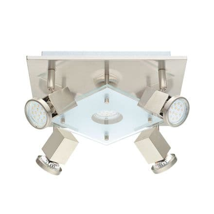 Eglo 93084 Pawedo Satin Nickel Adjustable LED 5 Spot Light Fitting