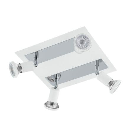 Eglo 94962 Sarria White & Chrome Adjustable LED 4 Spot Light Fitting