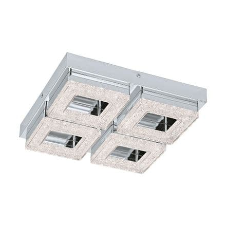 Eglo 95657 Fradelo 4 Square LED Crystal Ceiling Fitting