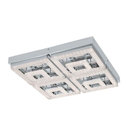 Eglo 95661 Fradelo 4 Double Square LED Crystal Ceiling Fitting