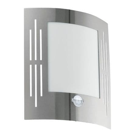 Eglo City Light with Opal Diffuser & PIR - Stainless Steel