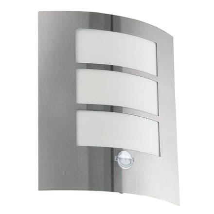 Eglo City Light with Slatted Opal Diffuser & PIR - Stainless Steel
