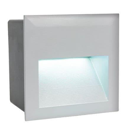 Eglo Zimba Recessed Small Square LED Wall Light - Silver