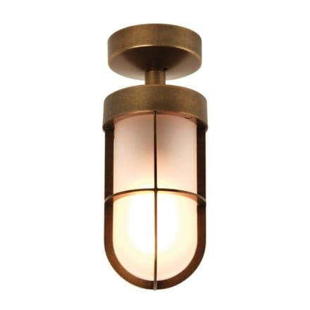 Astro 1368012 Cabin Semi Flush Frosted Ceiling Light Antique Brass