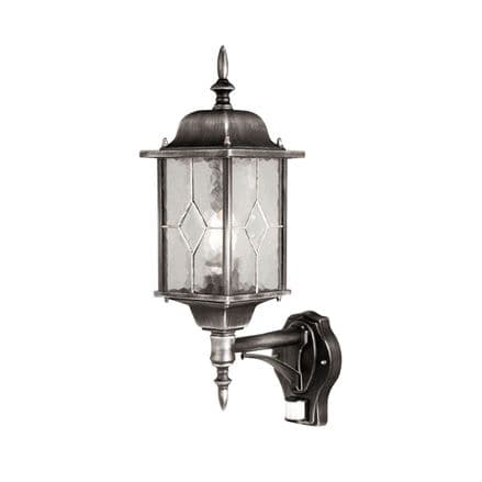 Elstead Wexford Up Wall Lantern With PIR Black/Silver