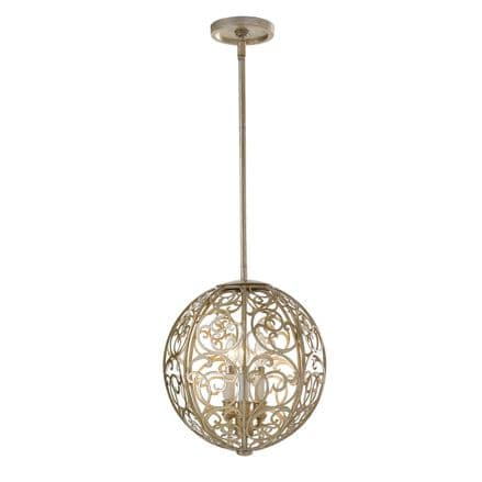 Feiss Arabesque Triple Chandelier Aged Silver