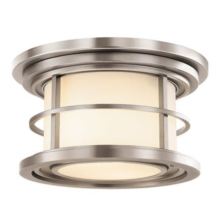 Feiss Lighthouse Double Outdoor Flush Ceiling Light Brushed Steel