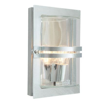 Norlys Basel 1 Light Wall Lantern Galvanised With Clear Glass