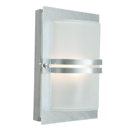 Norlys Basel 1 Light Wall Lantern Galvanised With Frosted Glass
