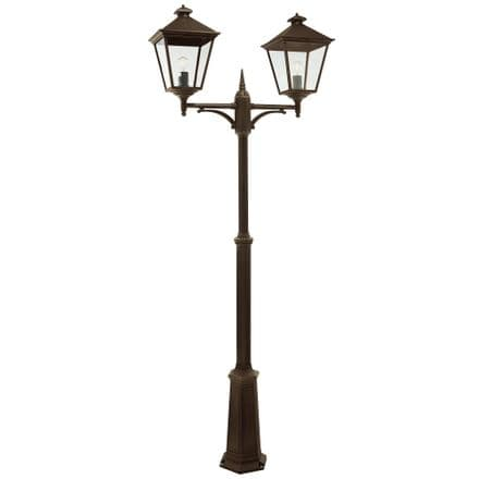 Norlys Turin 2 Light Grande Twin Lamp Post Black/Gold