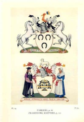 Decorative HERALDRY 1960: London Guilds. Farriers + Framework Knitters.Old print