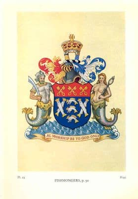 Decorative HERALDRY 1960: London Guilds. Fishmongers. Old print. City Livery Co.