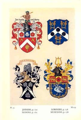 Decorative HERALDRY 1960: London Guilds.  Joiners. Loriners. Masons. Musicians
