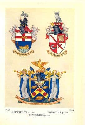 Decorative HERALDRY 1960: London Guilds.  SHIPWRIGHTS. SOLICITORS. STATIONERS.