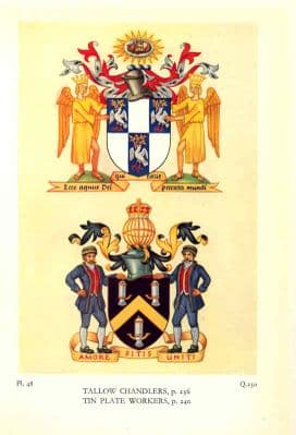Decorative HERALDRY 1960: London Guilds.  TALLOW CHANDLERS. TIN PLATE WORKERS