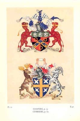 Decorative HERALDRY 1960: London Trades Guilds.  Coopers + Curriers. Old print.