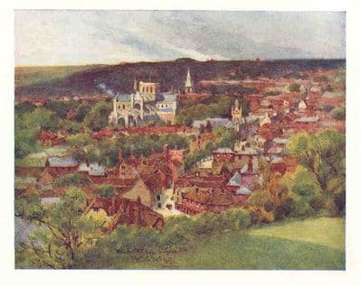 ENGLAND 1918: WINCHESTER NESTLING IN THE VALLEY. Hampshire. Old Vintage Print.