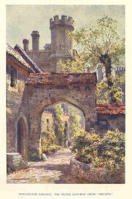 Hants 1920's: WINCHESTER COLLEGE Gateway. Old Hampshire Print. Schools.