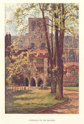 Hants 1920's: WINCHESTER Deanery Entrance. Old Vintage Print. Hampshire
